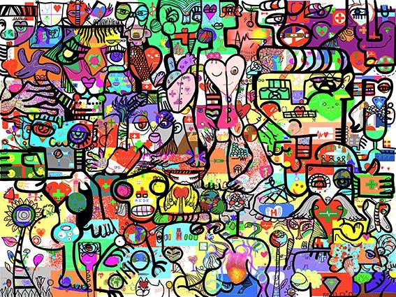 Fresque Digitale Lyon par aNa artiste pour les élèves de première année de Médecine de l'Université Lyon 1 lors du confinement de décembre 2020 face au COVID 19