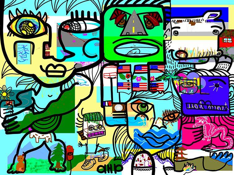 Fresque Digitale Québec réalisée depuis la France en Vidéo conférence par aNa artiste