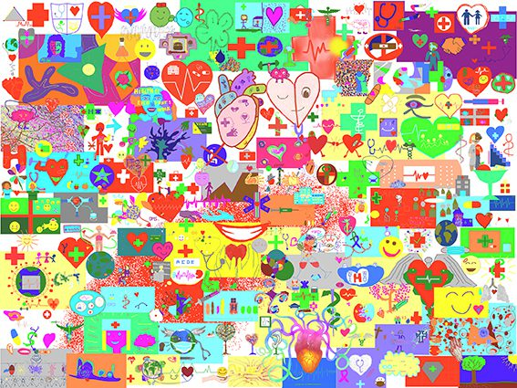 Œuvre Commune Digitale Lyon mur d'idées des élèves de l'Université de Médecine pour aNa artiste